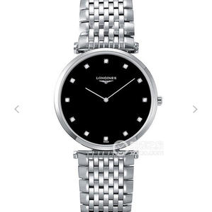 JF Longines Elegant Garland Series Swiss Quartz Movement Men's/Women's Ultra-thin Watch with Black Diamond