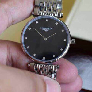 Longines Garland series ultra-thin quartz black face watch, both men and women can wear