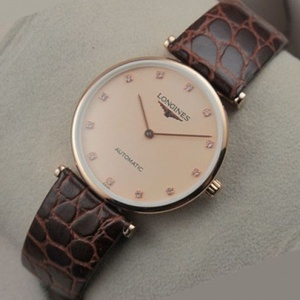 Swiss Longines Garland Series 18K Rose Gold Full Leather Strap Automatic Mechanical Men's Watch
