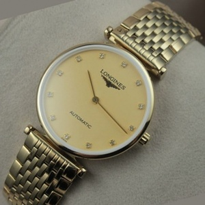 Swiss Longines Garland series 18K full gold gold face diamond scale two hands men's watch