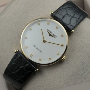 Swiss Longines Garland series 18K gold white face full leather strap automatic mechanical men's watch 1:1