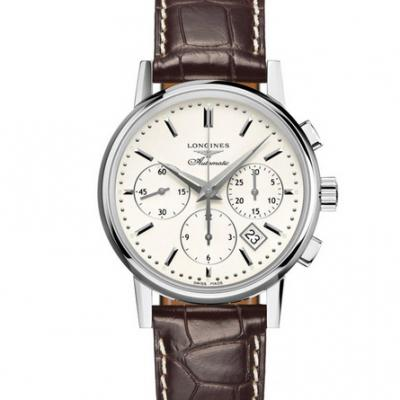 New Longines Classic Retro L2.733.4.72.2 Series Men's Automatic Mechanical Watch White Face